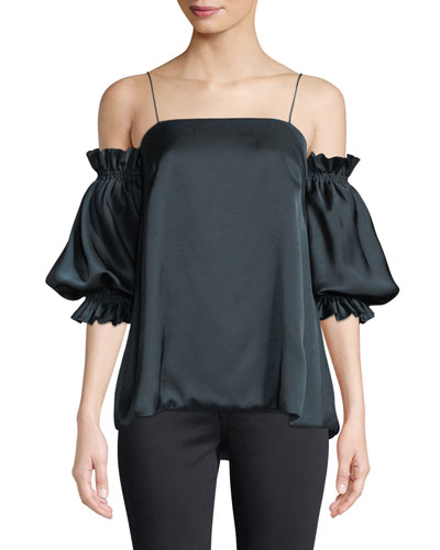 Garbo Cold-Shoulder Statement-Sleeve Top