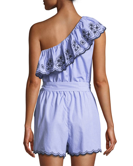 one-shoulder daisy embroidered romper
