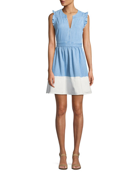 dip-dyed denim ruffle-trim dress