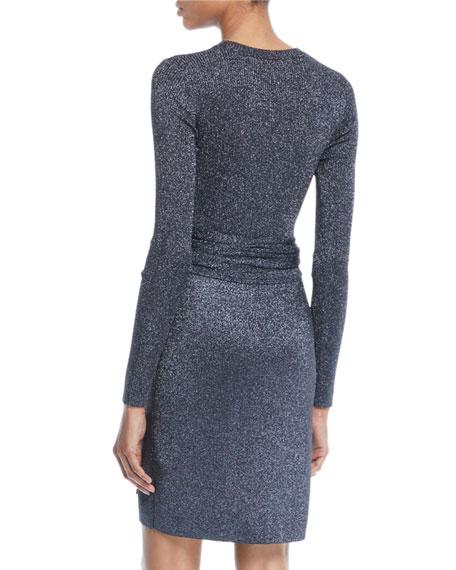 Wrap-Waist Ribbed Long-Sleeve Dress