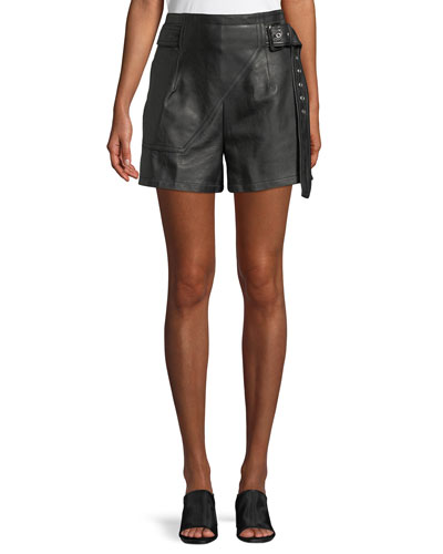 Belted Leather Utility Shorts