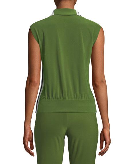 Side-Stripe Sleeveless Turtle Athletic Jacket
