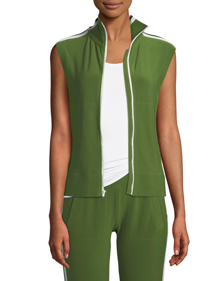 Norma Kamali Side-Stripe Sleeveless Turtle Athletic Jacket