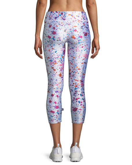 Tall Band Paint Splatter Printed Capri Leggings