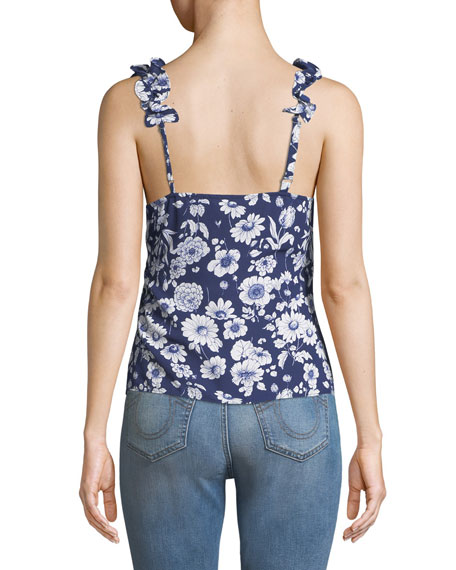 Marin Sleeveless Floral Ruffle Top