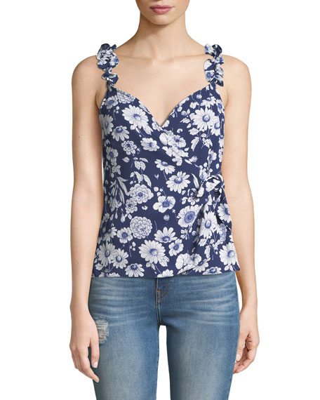 Marin Sleeveless Floral Ruffle Top in Blue Pattern