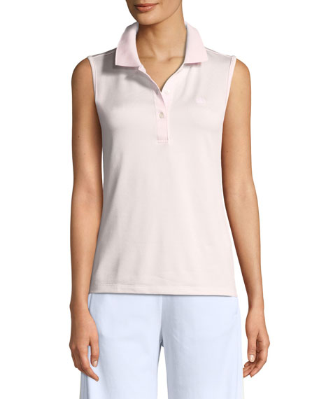 Tory Sport Tech Pique Sleeveless Polo Top