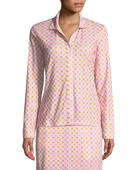 Printed Long-Sleeve Golf Shirt