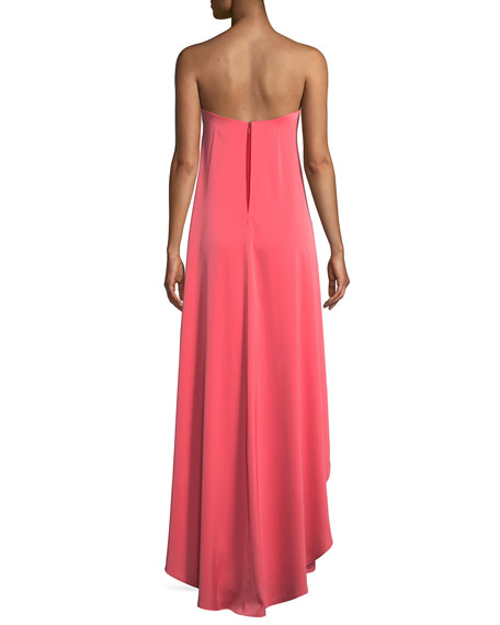 Crepe & Charmeuse Flowy Strapless Jumpsuit