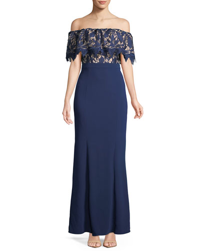 Off-the-Shoulder Lace Popover Mermaid Gown