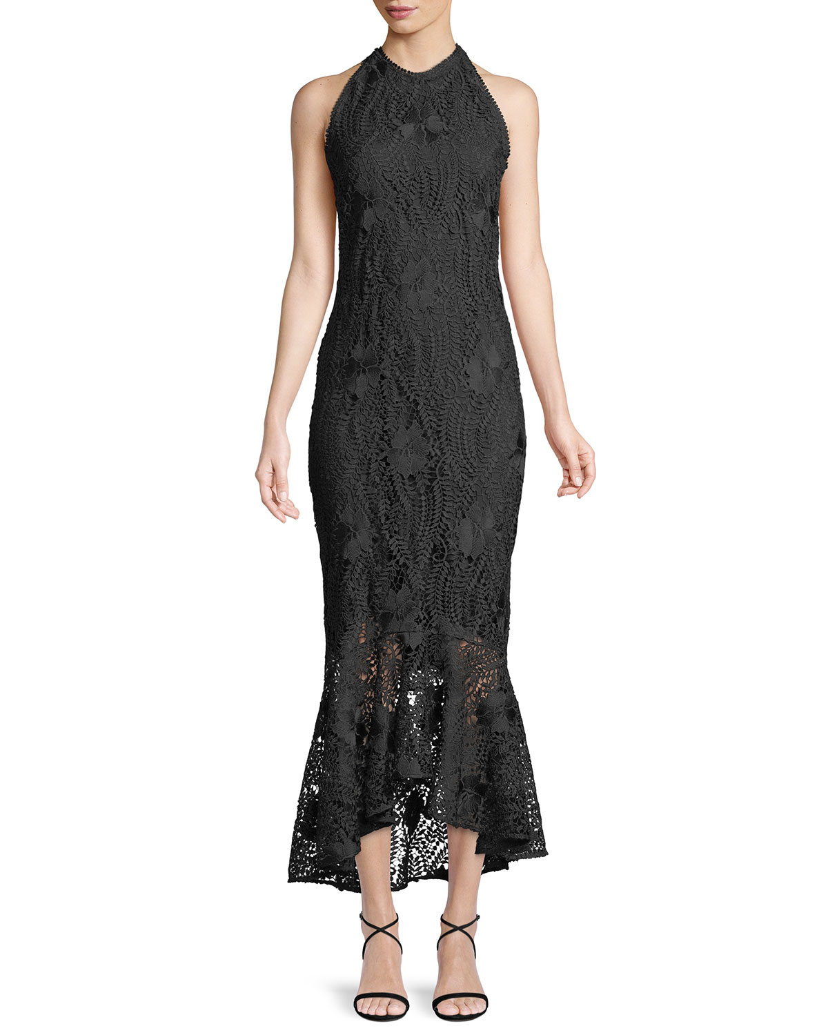 Shoshanna Carmina Guipure Lace High-Low Gown | Neiman Marcus
