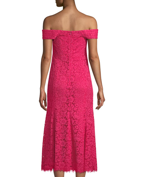 Balmwell Off-the-Shoulder Scalloped Lace Dress