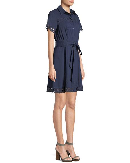 Irene Shirt Dress w/ Eyelet Trim