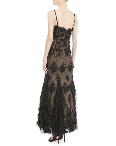 3D Embellished Bustier Gown w/ Godet Inserts