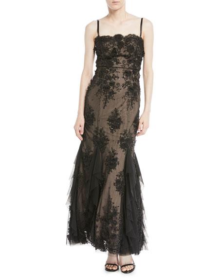 Aidan Mattox 3D Embellished Bustier Gown w/ Godet