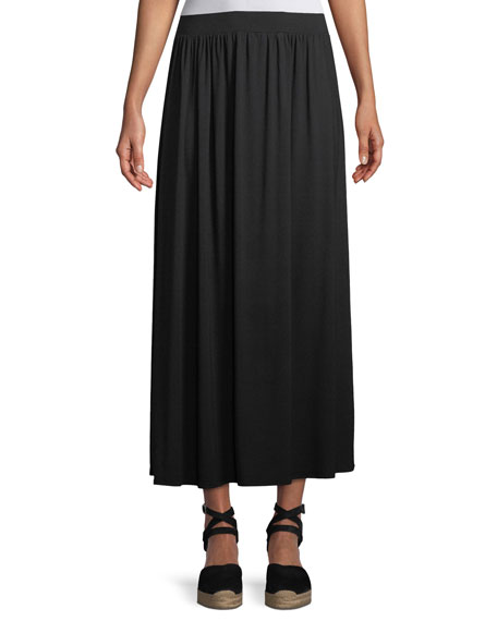 Shirred A-line Midi Skirt