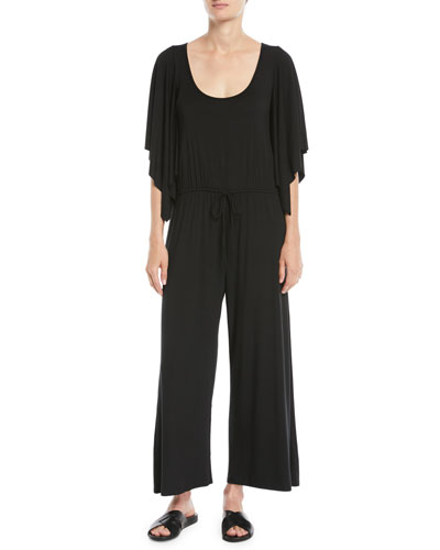 Roland Dramatic-Sleeve Jersey Jumpsuit, Plus Size