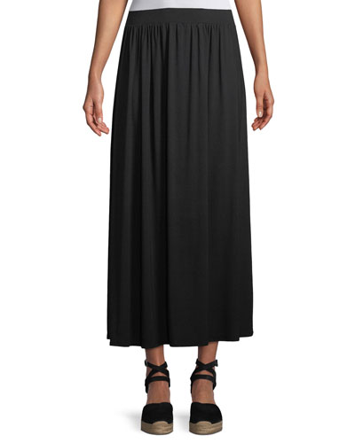 Shirred A-line Midi Skirt, Plus Size