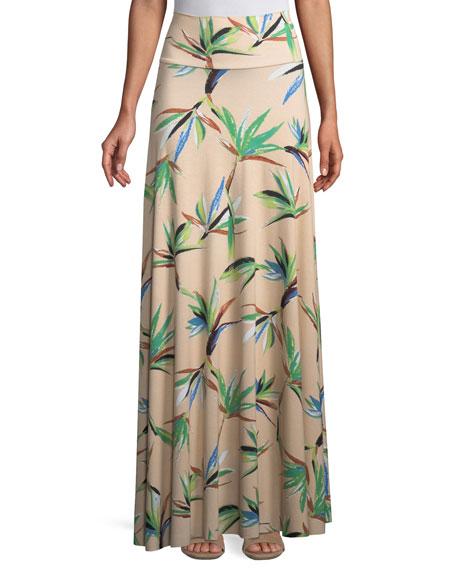 Long Full Paradise Printed Skirt, Plus Size