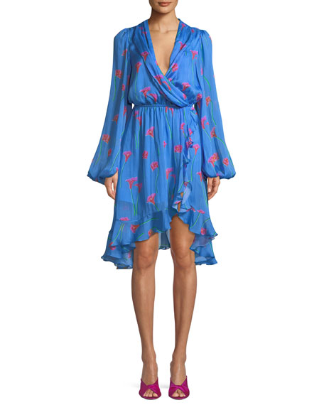Caroline Constas Olivia Floral-Print Silk Ruffle Open-Back Dress