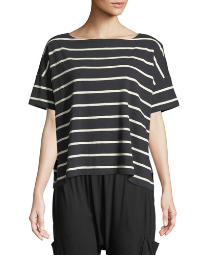 Slubby Organic Cotton Striped Box Top, Plus Size