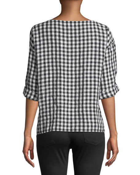 Organic Linen Gingham 3/4-Sleeve Top