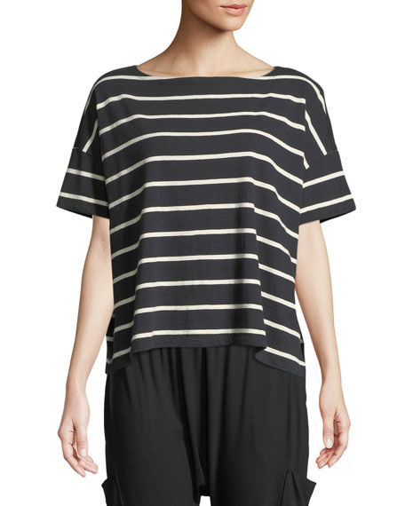 Slubby Organic Cotton Striped Box Top, Petite