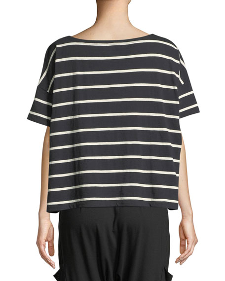 Slubby Organic Cotton Striped Box Top