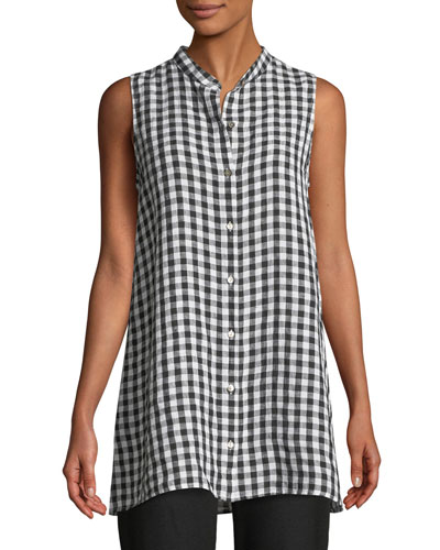 Sleeveless Organic Linen Gingham Tunic Shirt, Plus Size