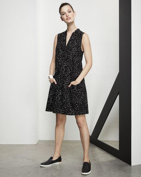Sleeveless Dot-Print A-line Dress, Plus Size