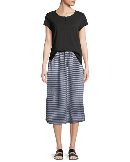 Striped Organic Linen Jersey Midi Skirt
