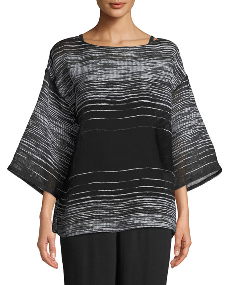 Half-Sleeve Illusion Mesh Top, Petite