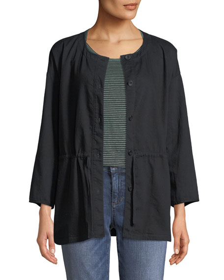 Round-Neck Organic Cotton Twill Shirttail Jacket, Petite