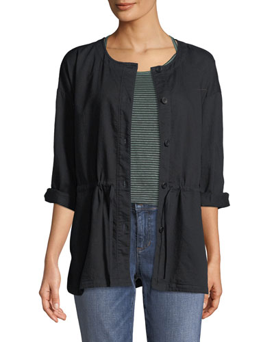 Round-Neck Organic Cotton Twill Shirttail Jacket, Petite