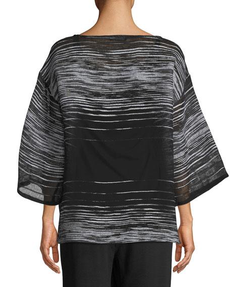 Half-Sleeve Illusion Mesh Top, Plus Size