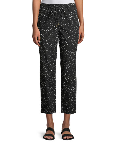 Dot-Print Cotton Slouchy Cropped Pants, Petite