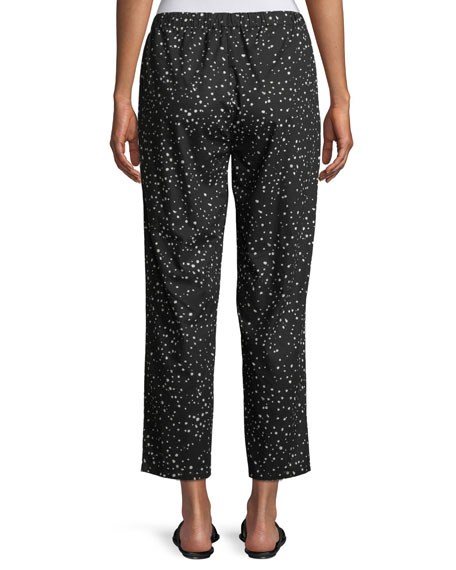 Dot-Print Cotton Slouchy Cropped Pants