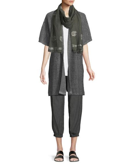 Short-Sleeve Organic Linen Kimono Cardigan