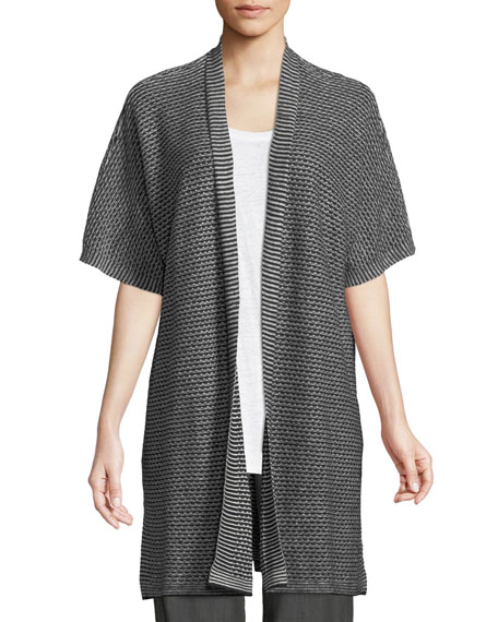 Eileen Fisher Short-Sleeve Organic Linen Kimono Cardigan and