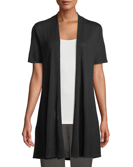 Short-Sleeve Fine Silk-Organic Linen Long Cardigan, Petite