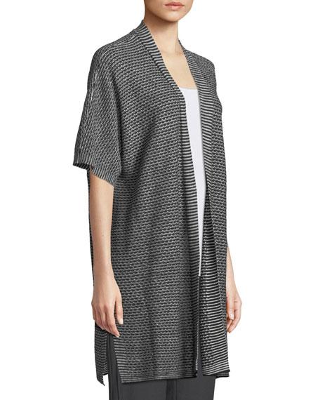 Short-Sleeve Organic Linen Kimono Cardigan, Plus Size