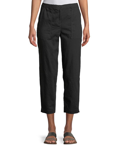 Soft Organic Twill Cropped Taper Pants, Plus Size