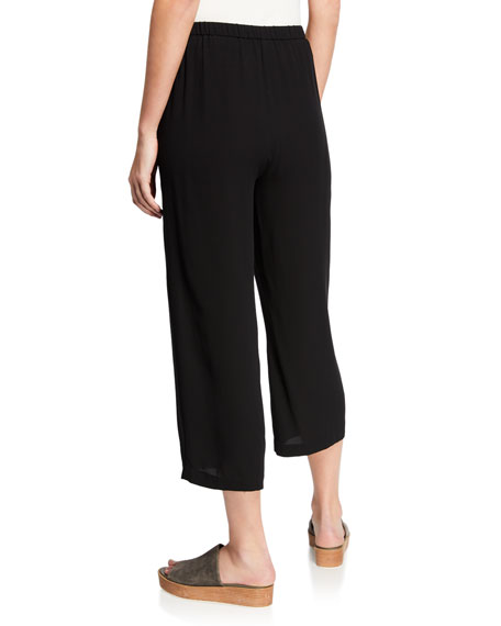Cropped Silk Georgette Straight-Leg Pants, Plus Size