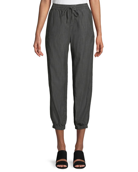 Tapered Denim Pull-On Pants, Petite