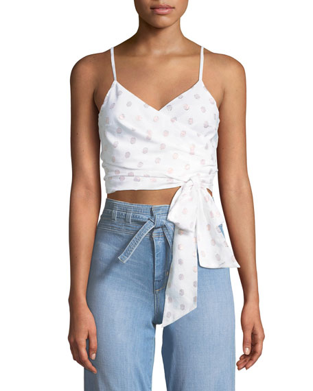 Loren Dot-Print Wrap Crop Top