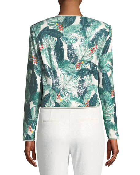 Aliza Sequin Palm-Print Jacket