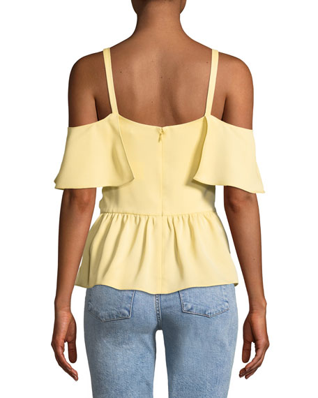 Akua Cold-Shoulder Ruffle Peplum Top