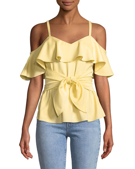 Club Monaco Akua Cold-Shoulder Ruffle Peplum Top
