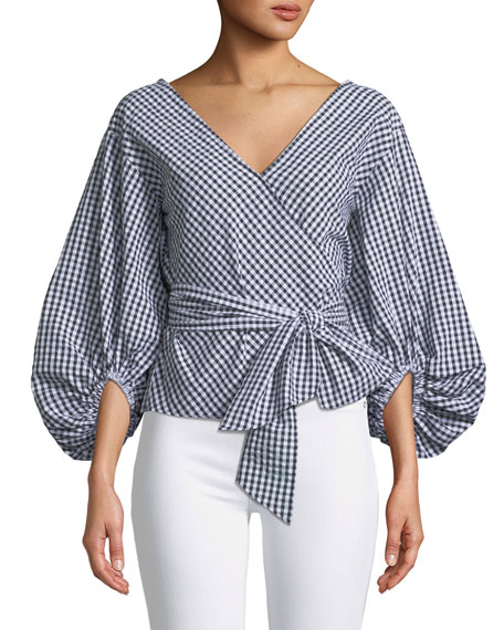 Riston Gingham Wrap Blouse