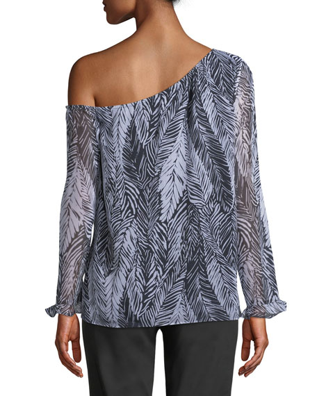 Daphins Palm-Print One-Shoulder Top